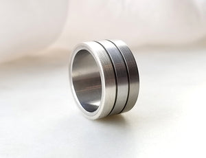 Carl Dau Stainless Steel, Titanium And Sterling Silver Band