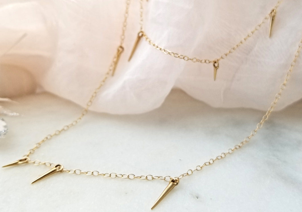 Marion Cage Yellow Gold Small Point Scatter Necklace