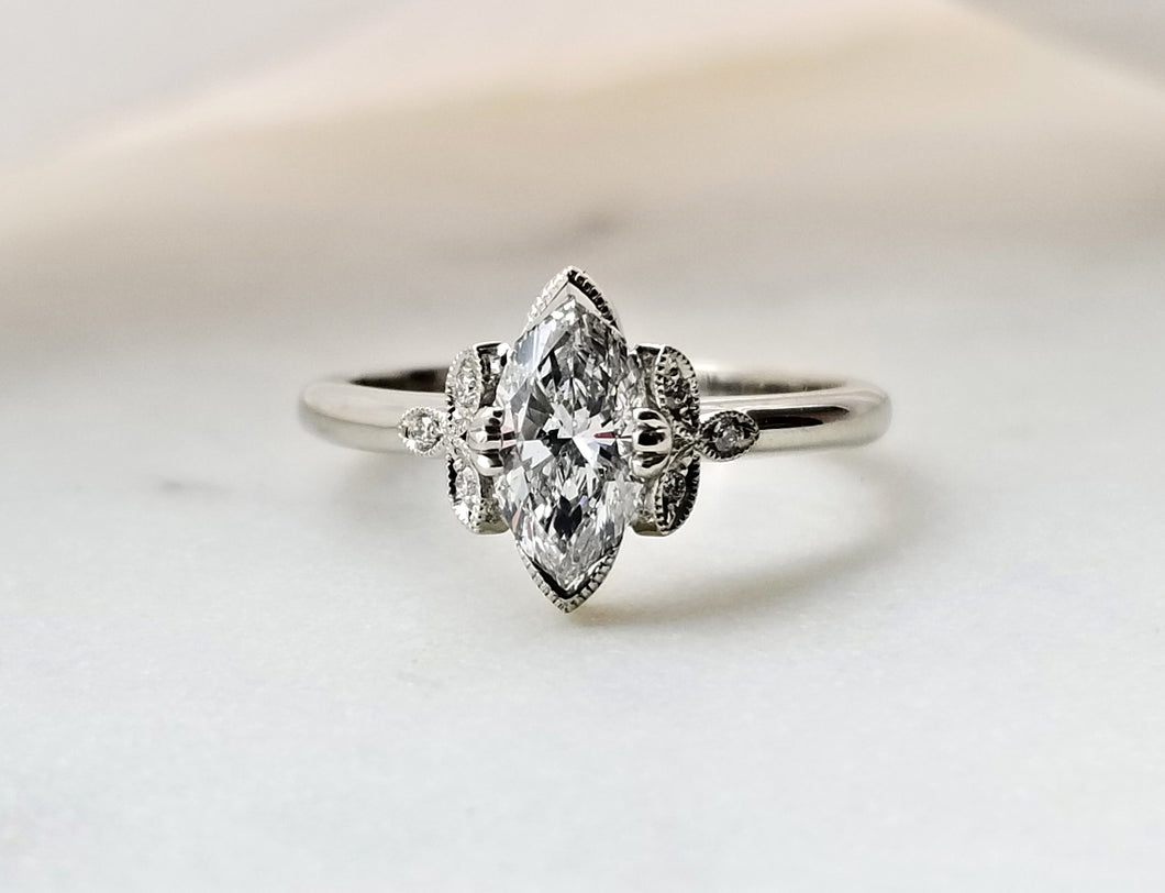 Modern Vintage Concept Marquise Cut Diamond Ring