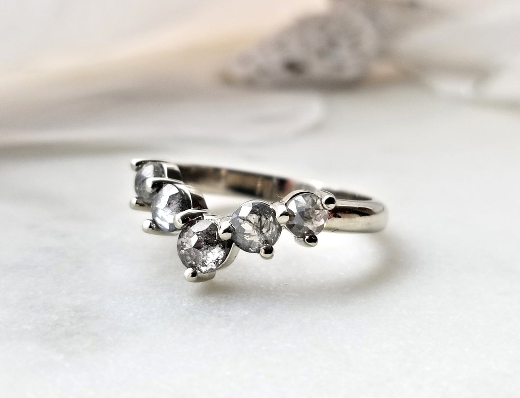 Modern Vintage Concept Salt And Pepper Rose Cut Diamond Ring
