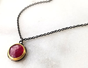 Ananda Khalsa Sterling Silver Rose Cut Ruby Necklace