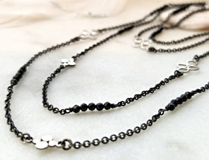 Ananda Khalsa Sterling Silver Station Necklace With Black Spinel