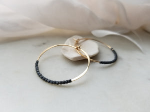 Fail Jewelry 14K Yellow Gold Filled & Oxidized Silver Beaded Medium Hoop Earrings