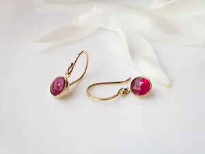 Jen Leddy Yellow Gold Ruby Dangle Earrings