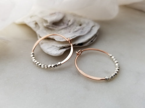Fail Jewelry Small 14k Rose Gold Filled & Silver Bead Round Hoop Earrings