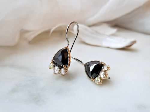 Modern Vintage Trilliant Rose Cut Black Diamond Earrings