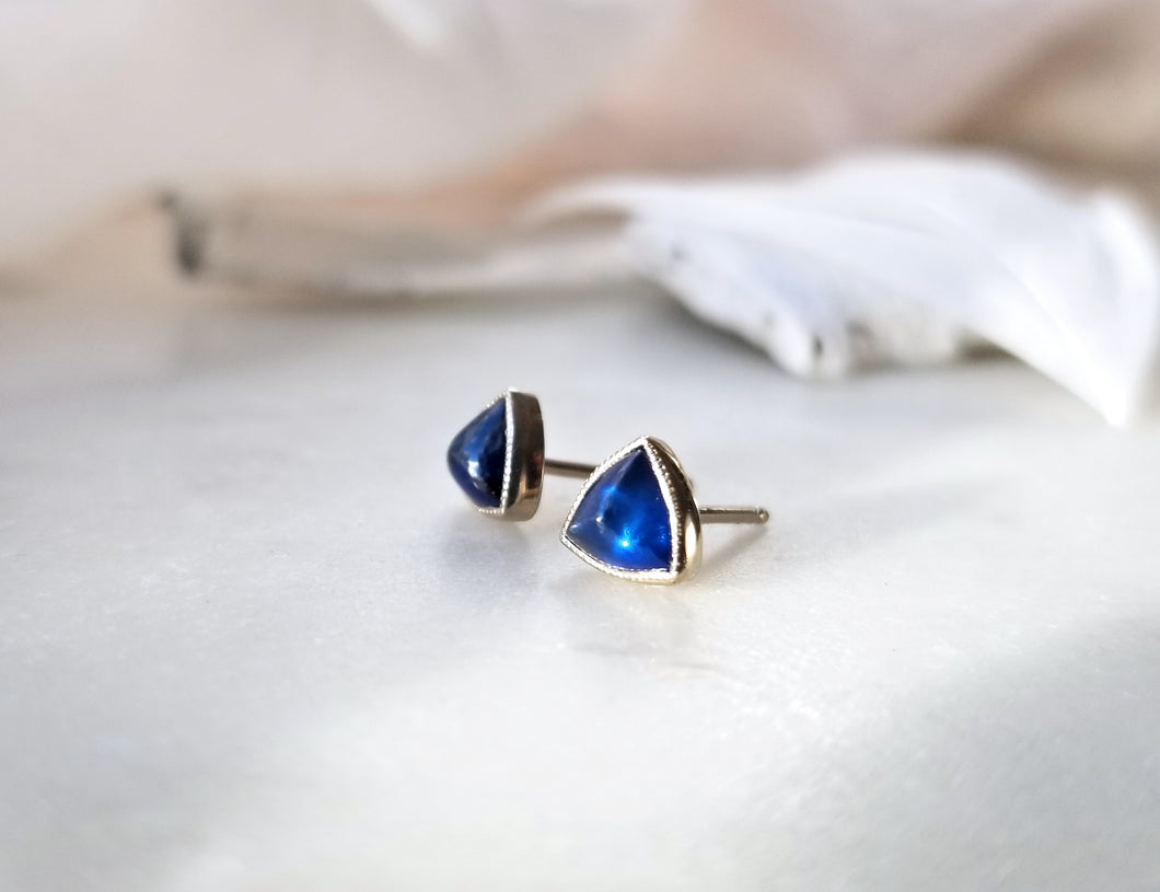 Jen Leddy White Gold Blue Sapphire Stud Earrings