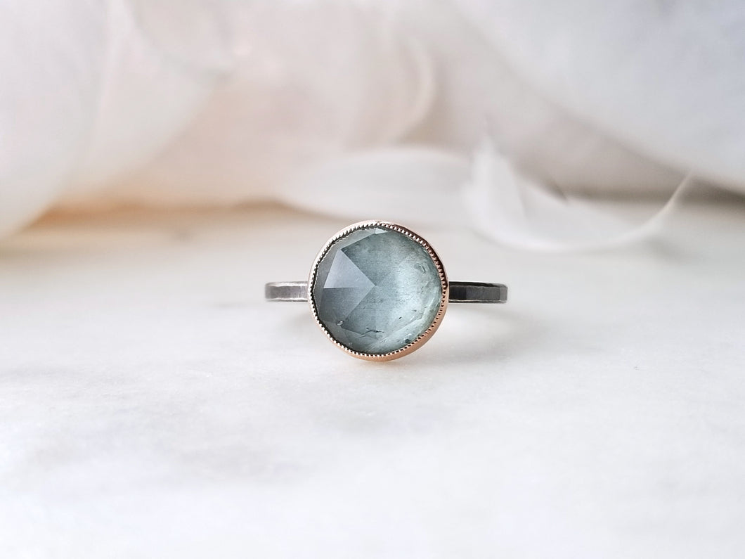 Jen Leddy Oxidized Silver and Rose Gold Aquamarine Ring