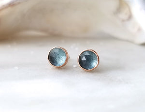 Jen Leddy 14K Rose Gold and Silver Aquamarine Studs
