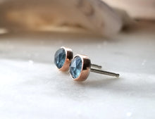 Load image into Gallery viewer, Jen Leddy 14K Rose Gold and Silver Aquamarine Studs
