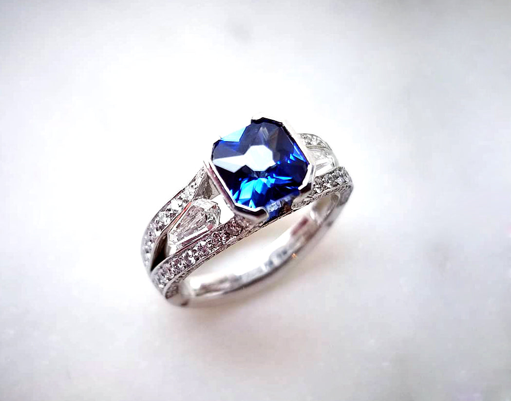 Contemporary Concept Radiant Cut Blue Sapphire Ring