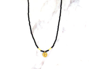 Ananda Khalsa Gold Disc Pendant On Black Spinel