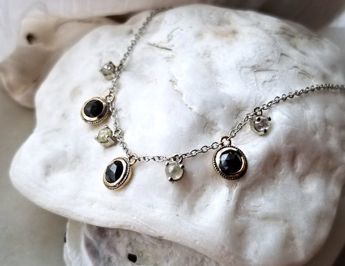 Modern Vintage Concept Black Diamond and Milky Diamond Necklace