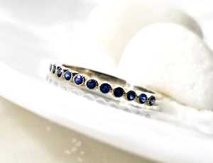 Modern Vintage Concept Blue Sapphire Family Band