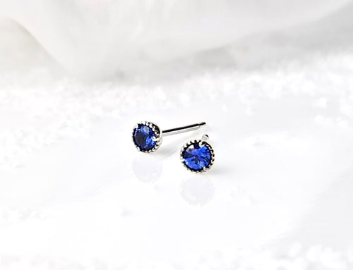 Modern Vintage Concept Mini Blue Sapphire Stud Earrings