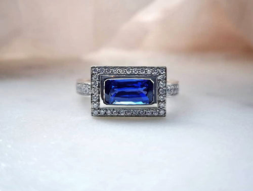 Contemporary Concept Octagon Cut Blue Sapphire Ring