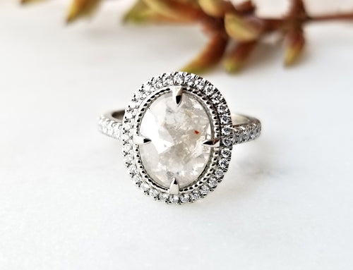 Modern Vintage Oval Rose Cut Diamond Ring