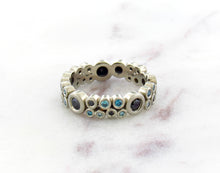 Load image into Gallery viewer, Bubble Concept Ring With Blue and Black Diamonds