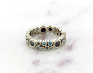 Bubble Concept Ring With Blue and Black Diamonds
