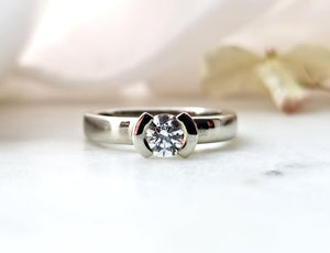 Contemporary Concept White Gold Diamond Engagement Ring