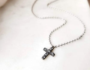 Modern Vintage Concept Caviar Cross Necklace