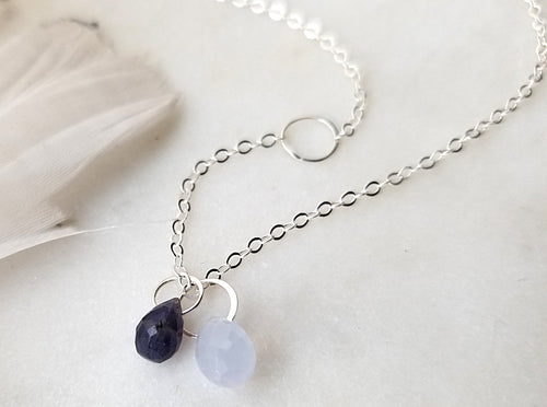 Melissa Joy Manning Iolite And Blue Chalcedony Drop Pendant