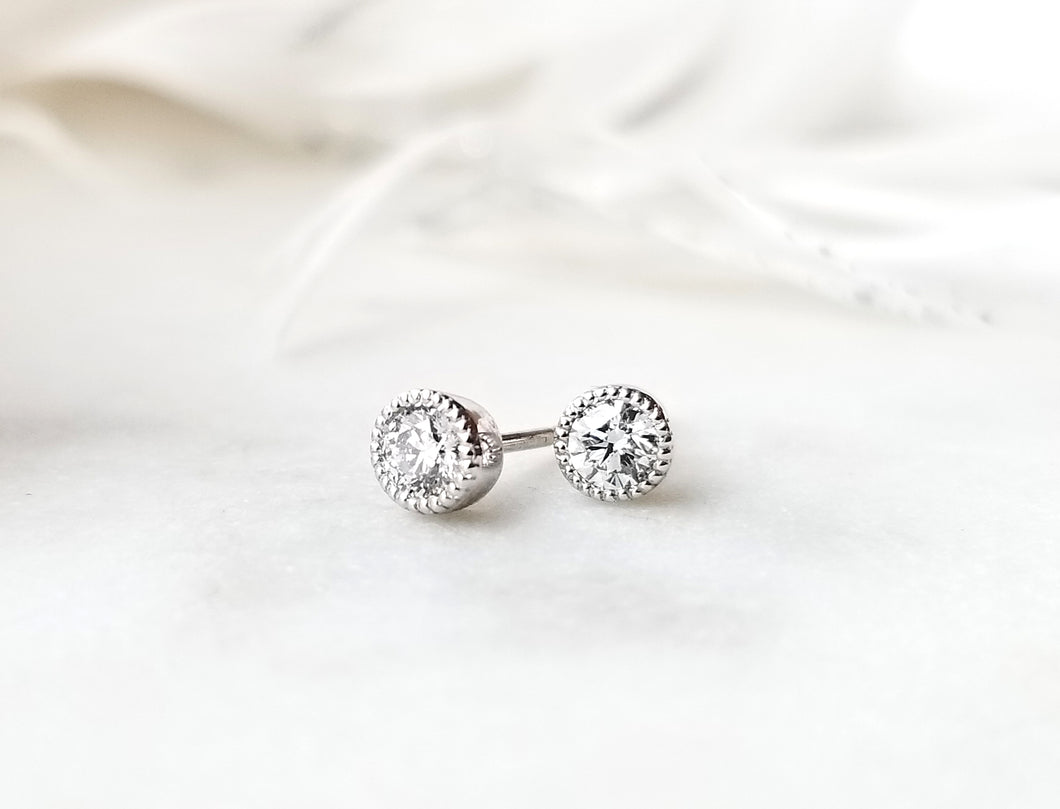 Modern Vintage Stud Diamond Earrings