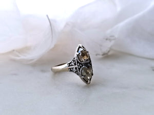 Modern Vintage Concept Natural White And Yellow Milky Diamond Ring