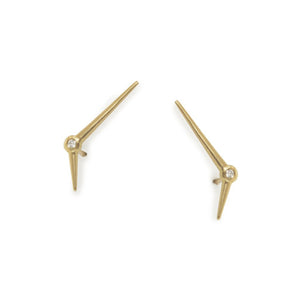 Marion Cage Yellow Gold Mirror Point Climber Earring With Diamonds