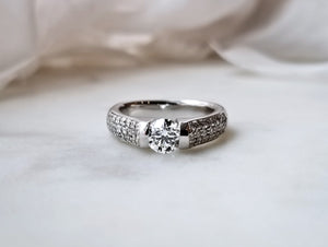 Contemporary Concept Pave Tension Diamond Ring