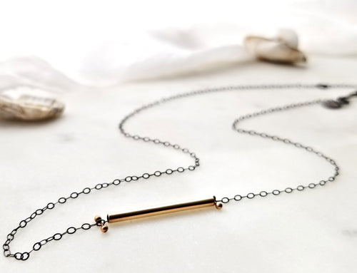 Melissa Joy Manning Gold Bar Necklace