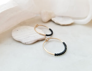 Fail Jewelry 14K Yellow Gold Filled and Oxidized Silver Small Beaded Hoop Earrings