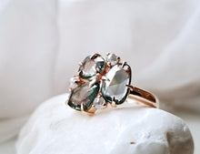 Load image into Gallery viewer, Modern Vintage Concept Rose Cut Green Sapphire Trio Ring