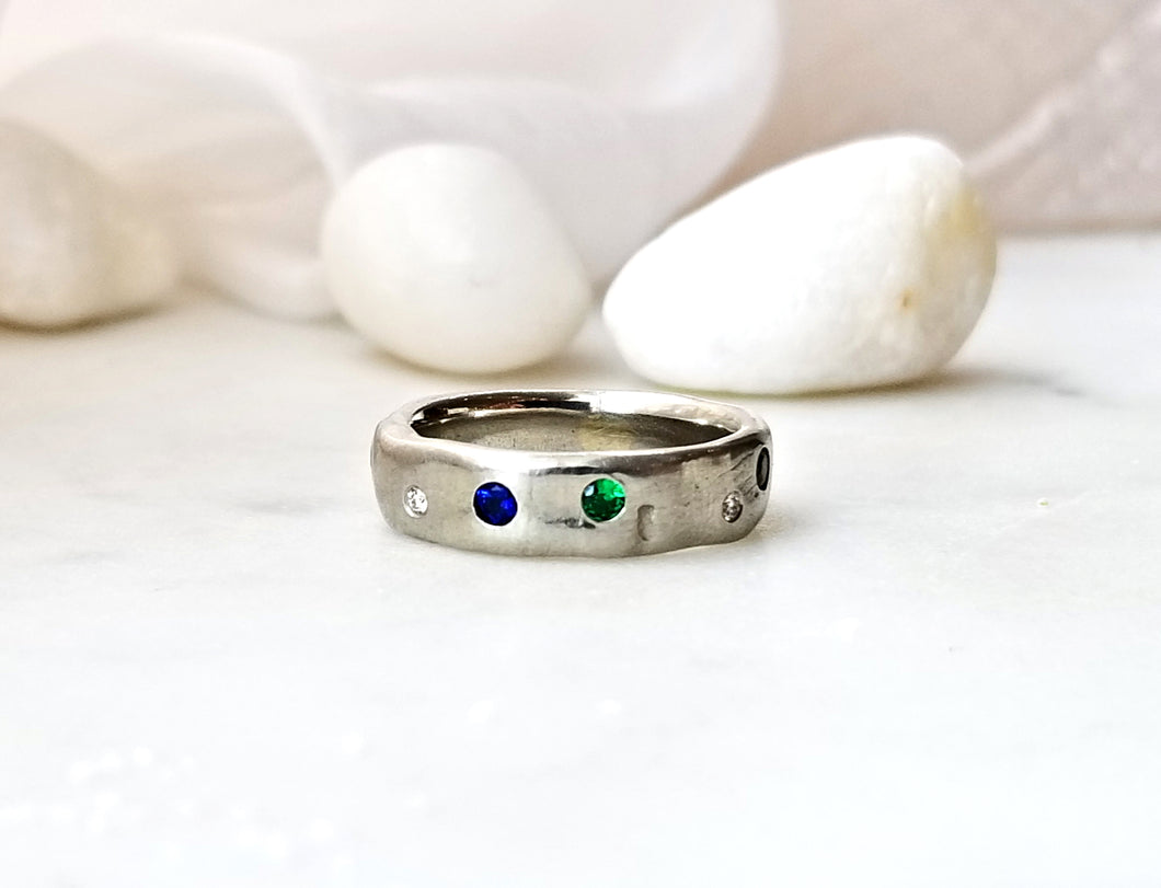Pebble Concept Small Band With Blue And Green Sapphires