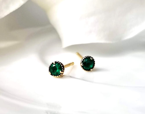 Modern Vintage Concept Mini Emerald Stud Earrings