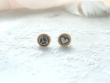 "Load image into Gallery viewer, Marmalade Designs Bronze and Sterling Silver ""Peace + Love"" Sculpted Studs"