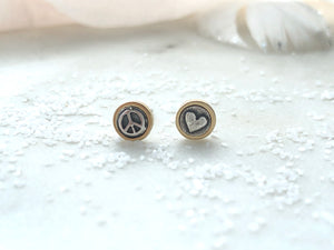 "Marmalade Designs Bronze and Sterling Silver ""Peace + Love"" Sculpted Studs"