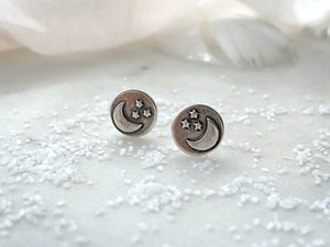 "Marmalade Designs Sterling Silver ""Moon + Stars"" Sculpted Studs"