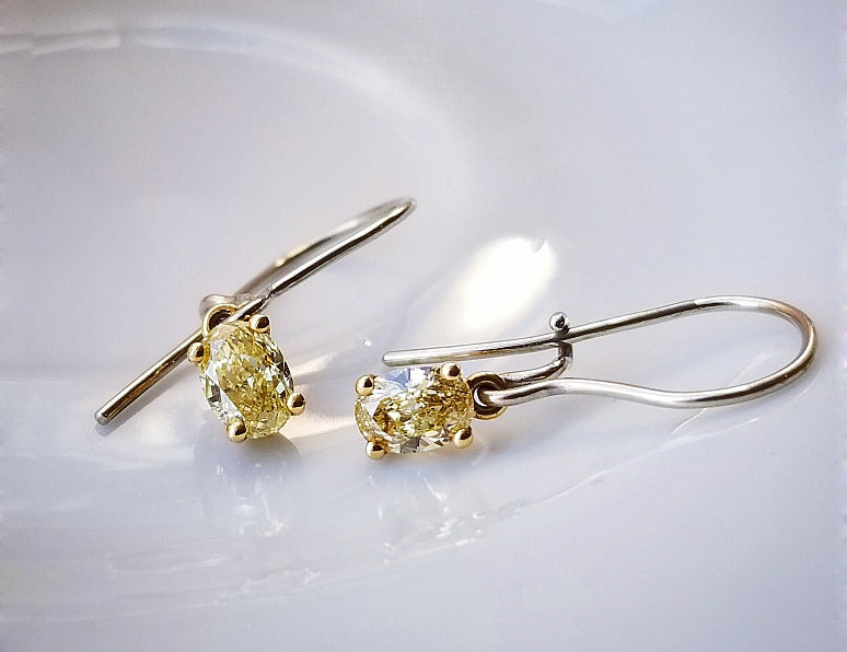 Classic Concept Two Tone Yellow Diamond Earrings