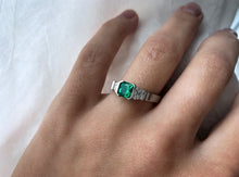 Load image into Gallery viewer, Contemporary Concept Three Stone Emerald And Diamond Ring