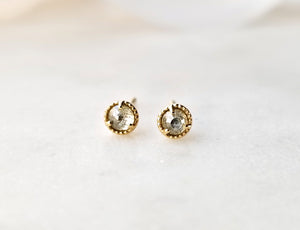Modern Vintage Concept Yellow Diamond Stud Earrings.