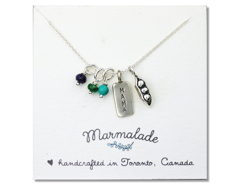 Marmalade Designs Mama & Three Peas Necklace with Gemstones