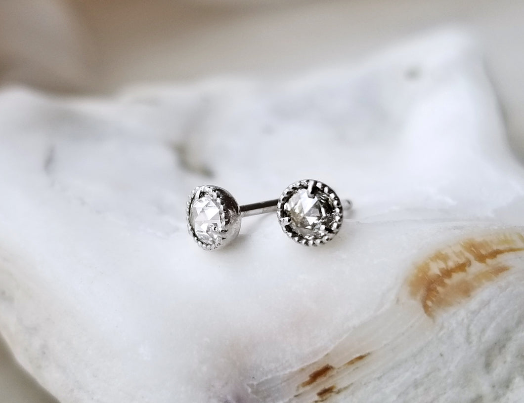 Modern Vintage Concept White Gold Beaded Mini Rose Cut Diamond Stud Earrings