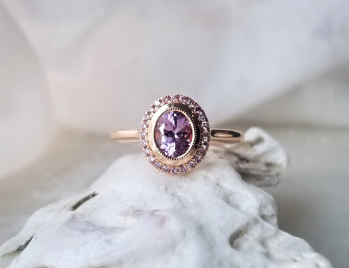 Modern Vintage Concept Pink Sapphire and Pink Diamond Ring