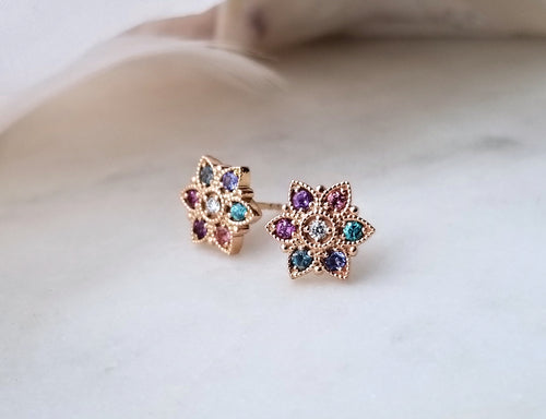 Modern Vintage Concept Multi-Coloured Flower Stud Earrings