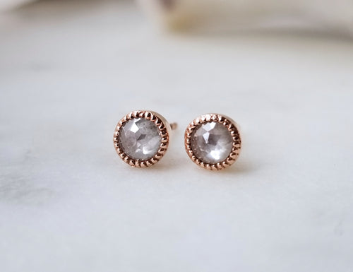 Modern Vintage Concept Beaded Rose Cut Diamond Stud Earrings