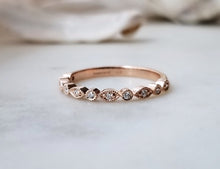 Load image into Gallery viewer, Modern Vintage Concept Rose Gold Diamond Leaf Band