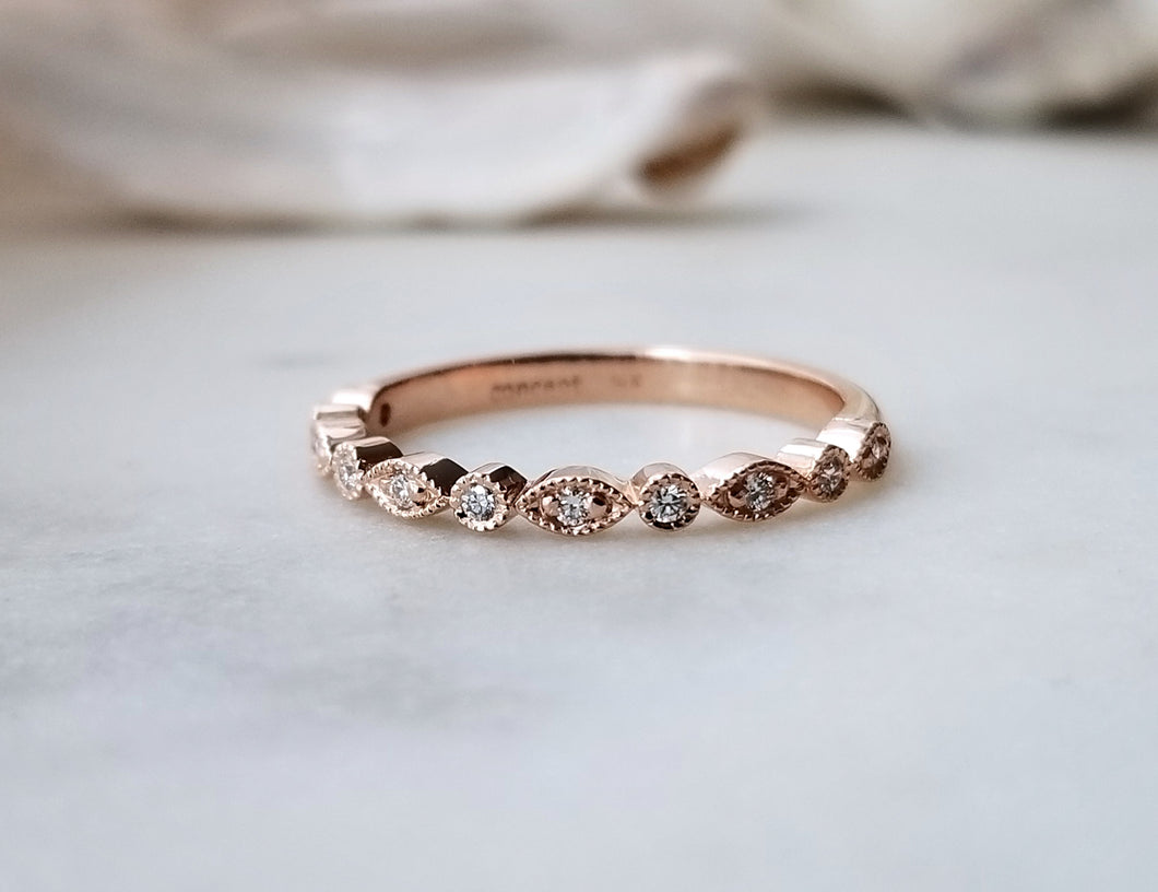 Modern Vintage Concept Rose Gold Diamond Leaf Band