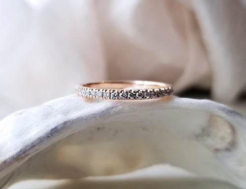 Modern Vintage Concept Rose Gold Diamond Wedding Band