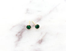 Load image into Gallery viewer, Modern Vintage Concept Mini Emerald Stud Earrings